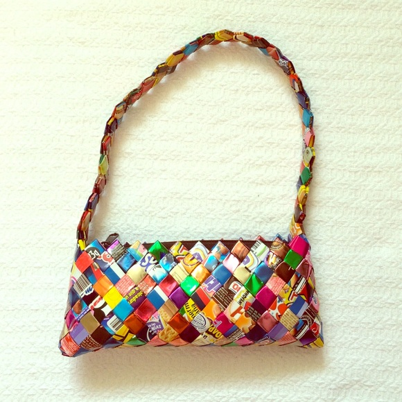 Recycled Material Handmade Clutch / Purse