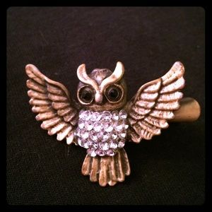 NWOT Bronze & rhinestone Owl clip