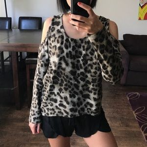 Tops - Leopard Print Cold Shoulder Top