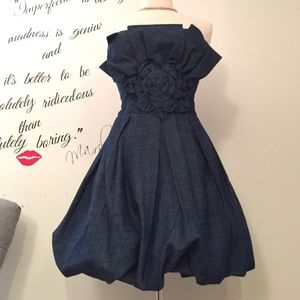 Denim strapless bubble mini dress 😍 Sz M