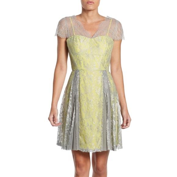 BCBG Dresses   Skirts - BCBG Silver shift yellow gray Lace Mini Dress 4edad2408
