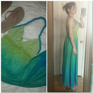 Ombre Maxi Dress Sea Green Lime Teal Turquoise NWT