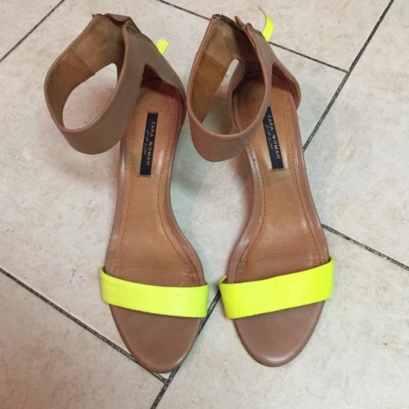 845fc326c81 Zara Shoes - Worn 2x Kitten Heel Sandals - Tan Neon Yellow