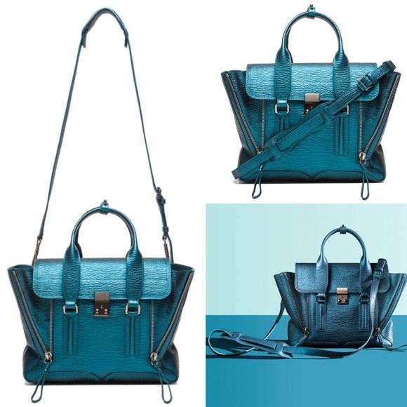 2bfc2c3546e1 3.1 Phillip Lim Handbags - 3.1 Phillip Lim Pashli Medium Metallic Turquoise