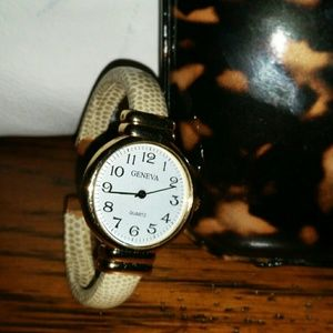 Gold and Tan Watch