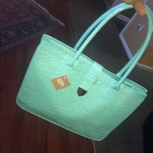 Handbags - NWT Faux Crocodile Bag in Light Teal