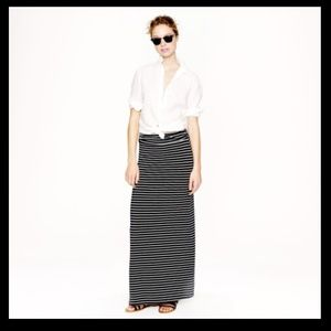 J. Crew Dresses & Skirts - J. Crew Grey and Black Stripe Maxi Skirt