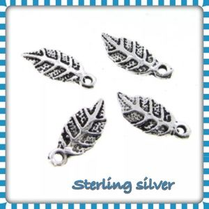 Jewelry - 4 Antique Sterling silver leaf 11mm x 4.5mm x .8mm