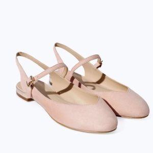 NWT Zara Slingback Ballerina Shoes Pink