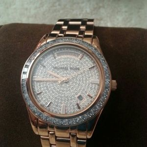 Michael Kors Accessories - MK rose gold bling watch, NWT and box