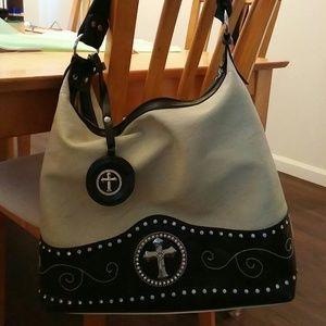 chinese sandals hoax - 80% off Handbags - Western Cross Tan & Black Handbag Purse Tote ...