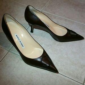 Chocolate Brown Leather Heels Pumps Sz 38