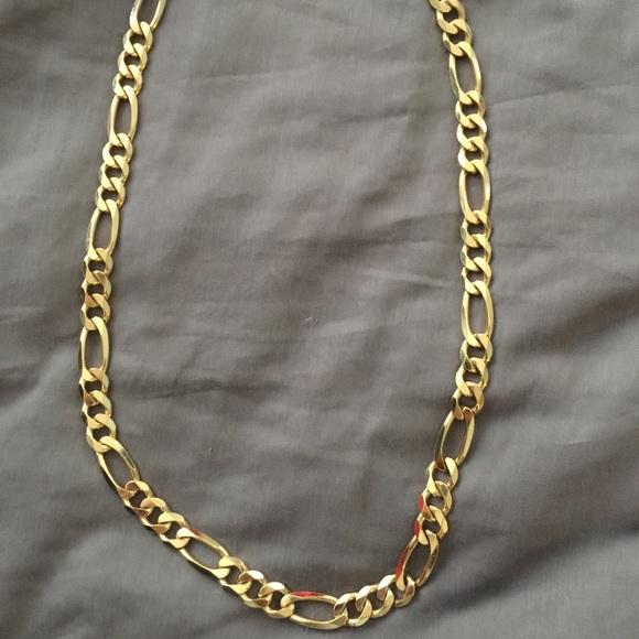 00b1b443f6992 24 inch 24kt gold figaro chain