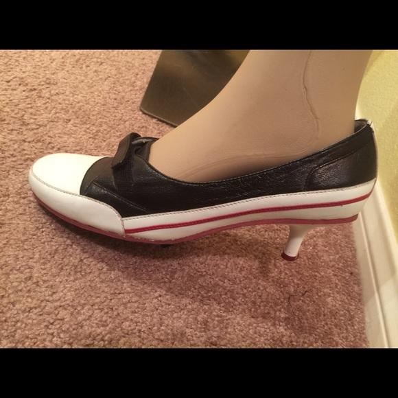 on sale d4e6e 5f875 Black & white with red bottom sporty kitten heels