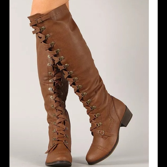 27464d618 Tan buckle knee high riding boots new