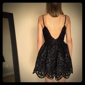 Laser Cut Tulle Dress with Low Back