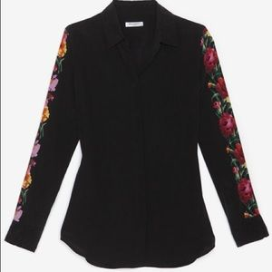 Equipment Tops - Equipment silk blouse with floral sleeves
