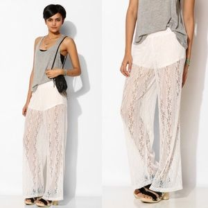 [Pins and Needles]white lace wide leg pants