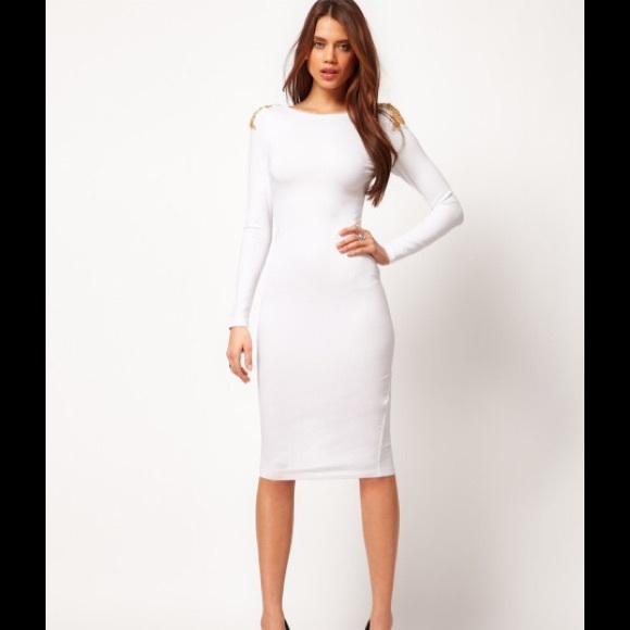 asos dresses white long sleeve bodycon dress poshmark