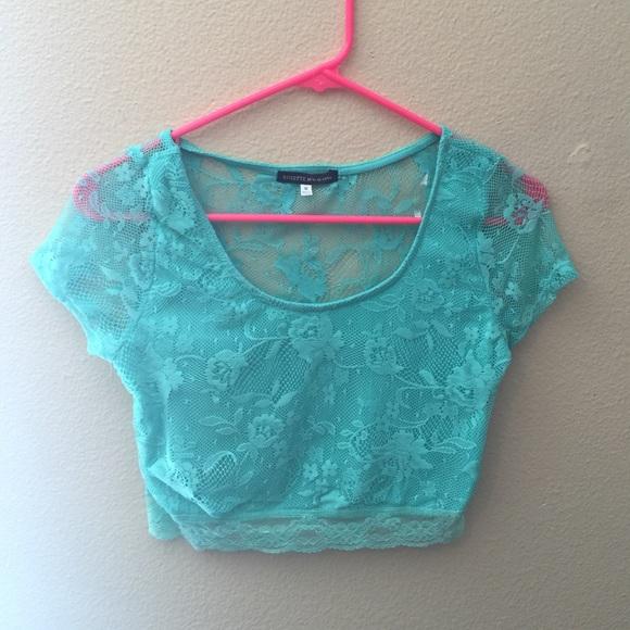 3df1cb3336dc00 Turquoise lace crop top. M 554fda6b291a351e27009a5f
