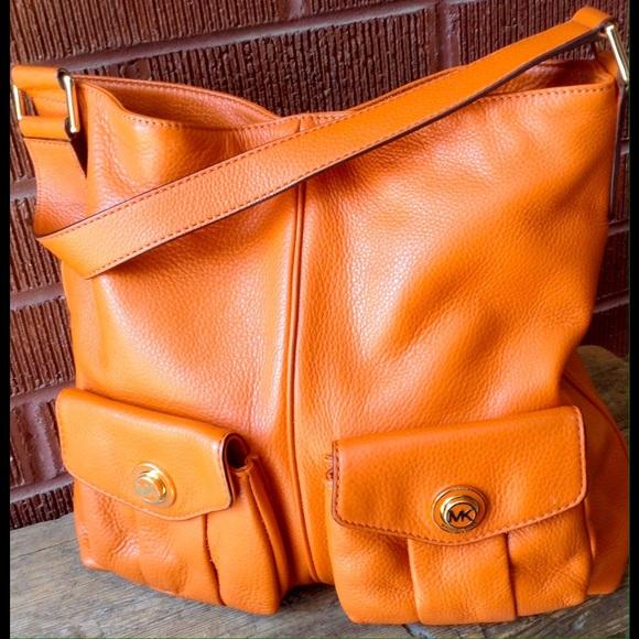 85% off Michael Kors Handbags - Michael Kors Orange Leather Hobo ...