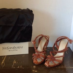 Yves Saint Laurent leather wrap-around sandals