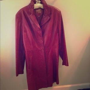 Jackets & Blazers - Merlot red leather long jacket // Italy XL⭐⭐️SOLD️