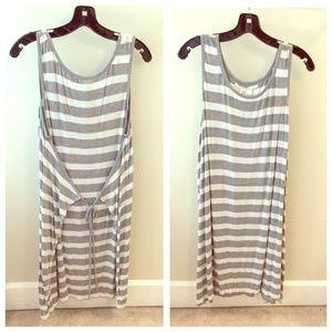 Max Studio Dresses & Skirts - Grey-White Cotton Knit Stripe Apron Dress