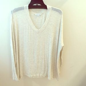 CAbi Tops - Heathered off white slouch tee, v neck
