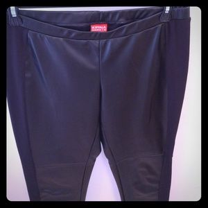 Kirna Zabete Pants - Black faux leather leggings, ponte sides ⭐⭐️SOLD️