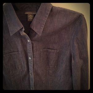 Banana Republic Tops - Dark denim chambray fitted shirt, cotton⭐SOLD️