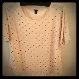 J. Crew Tops - Sold ❤️ beaded sequin t-shirt, peach short sleeve
