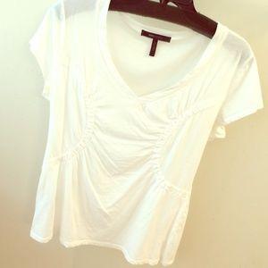 BCBGMaxAzria Tops - White puckered baseball style t-shirt, v neck