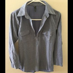Poof Couture Tops - Chambray Open-Neck Pull Over