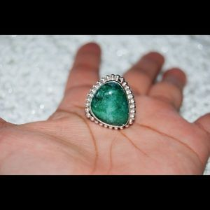 handmade & handcrafted gemstone jewelry Jewelry - Green Agate Statement Ring Size 7 1/2