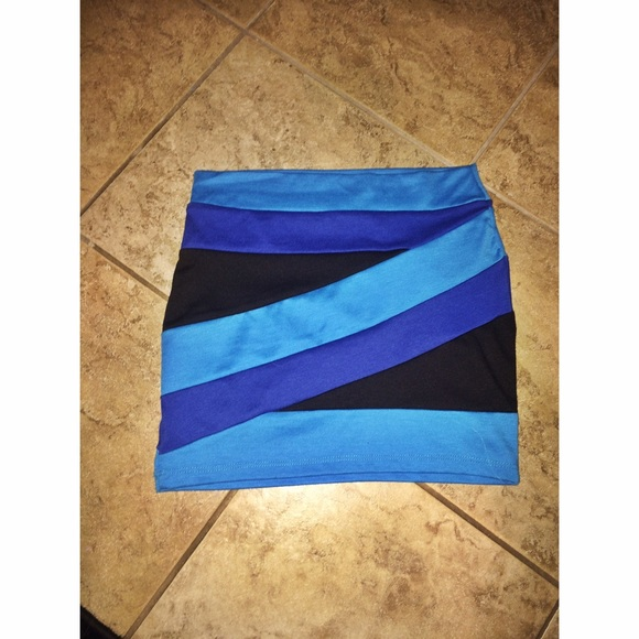 blue and black striped skirt s from brie s closet on poshmark