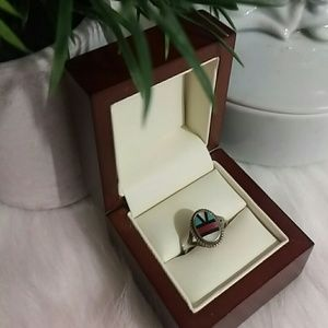 Vintage Southwest sterling silver & stone ring
