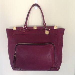 Lanvin Noanne Bag Tote Leather Purple Gold
