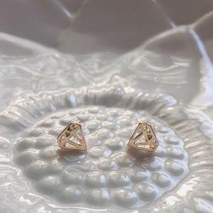 Gold diamond shape stud earrings
