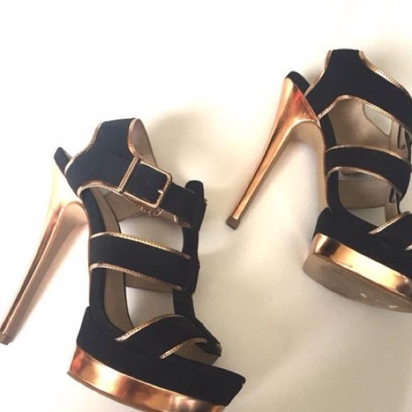 26179e8f62f Strappy black rose gold heel