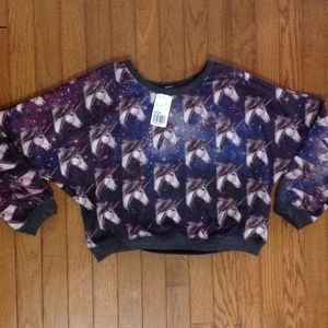 Forever 21 Tops - Forever 21 unicorn Cropped Sweatshirt L NWT
