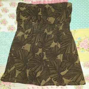Old Navy Floral Brown & Tan Tube Top