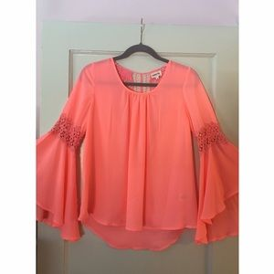 Audrey Ann Tops - Beautiful Coral Lacey Top