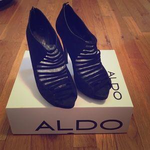 Aldo black bootie heels