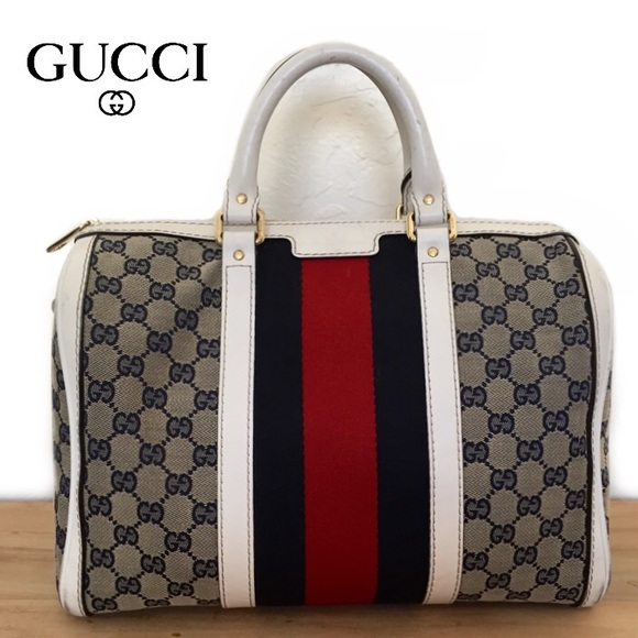 ebd981c9343 Gucci Handbags - GUCCI white trim GG canvas Vintage Web boston bag