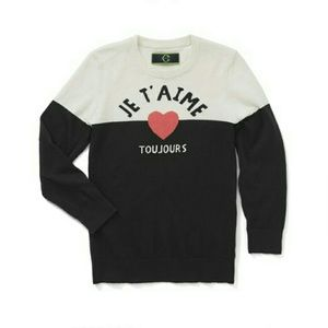 C. Wonder Je T'aime Intarsia Colorblock Sweater