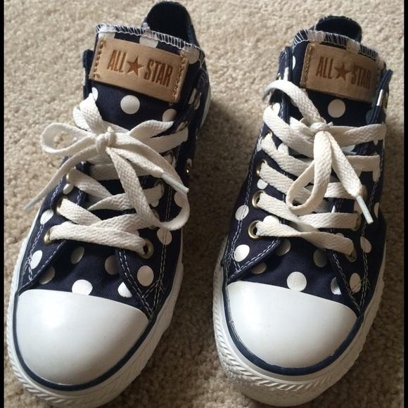 79fe7772dafb Converse Shoes - Navy Blue polka dot Chucks Converse