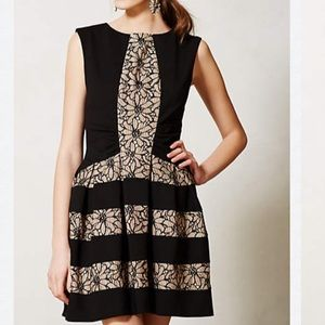 Anthropologie Black and Tan eyelet dress NWTS XS