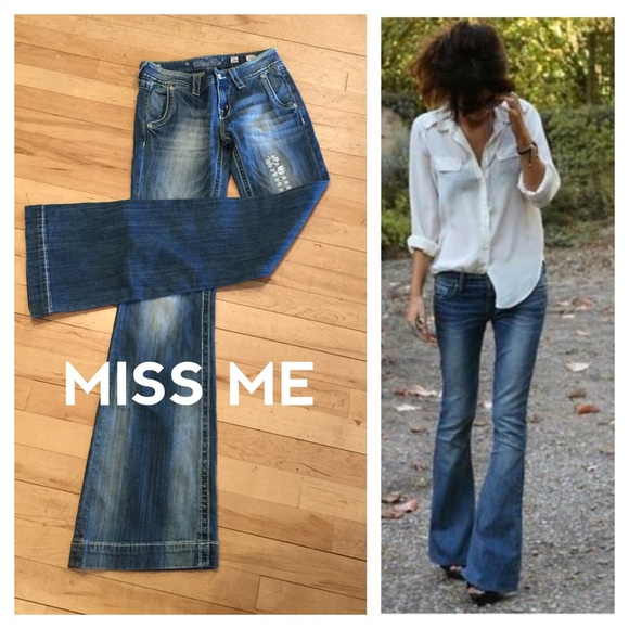 63% off Miss Me Denim - MISS ME bellbottom flared wide leg jeans ...