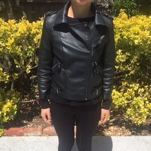 ASOS Faux leather moto jacket in black